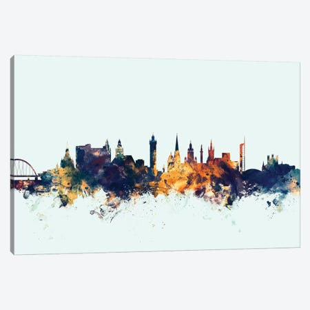 Glasgow, Scotland, United Kingdom On Blue Canvas Print #MTO273} by Michael Tompsett Canvas Wall Art
