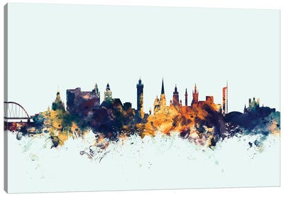 Skyline Series: Glasgow, Scotland, United Kingdom On Blue Canvas Art Print