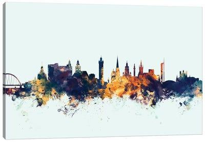 Skyline Series: Glasgow, Scotland, United Kingdom On Blue Canvas Print #MTO273