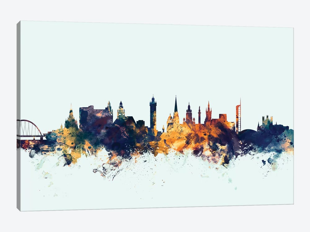 Glasgow, Scotland, United Kingdom On Blue by Michael Tompsett 1-piece Canvas Art