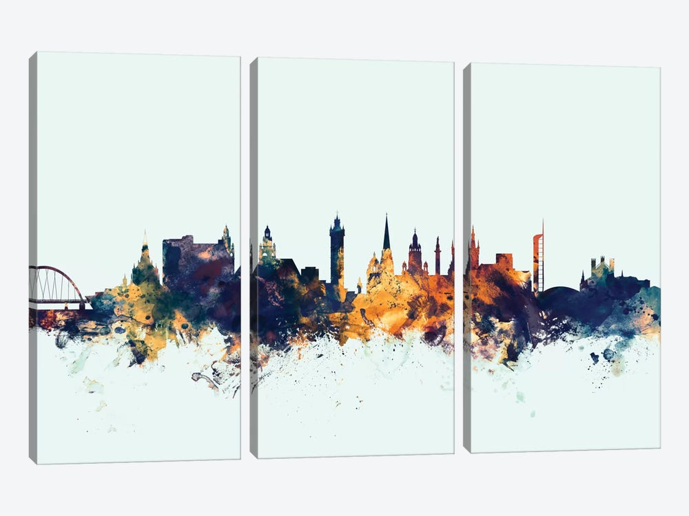 Skyline Series: Glasgow, Scotland, United Kingdom On Blue by Michael Tompsett 3-piece Canvas Wall Art