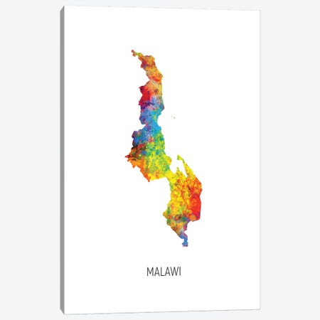 Malawi Map Canvas Print #MTO2743} by Michael Tompsett Art Print