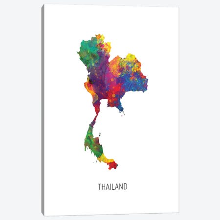 Thailand Map Canvas Print #MTO2746} by Michael Tompsett Canvas Art