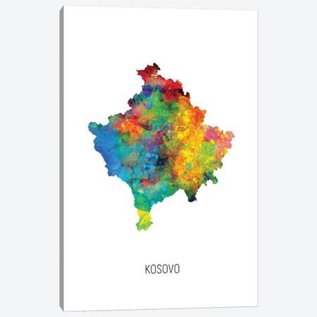 Kosovo Map Canvas Print #MTO2748} by Michael Tompsett Art Print