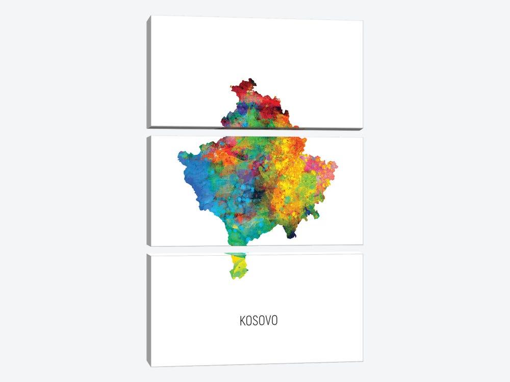 Kosovo Map by Michael Tompsett 3-piece Canvas Art