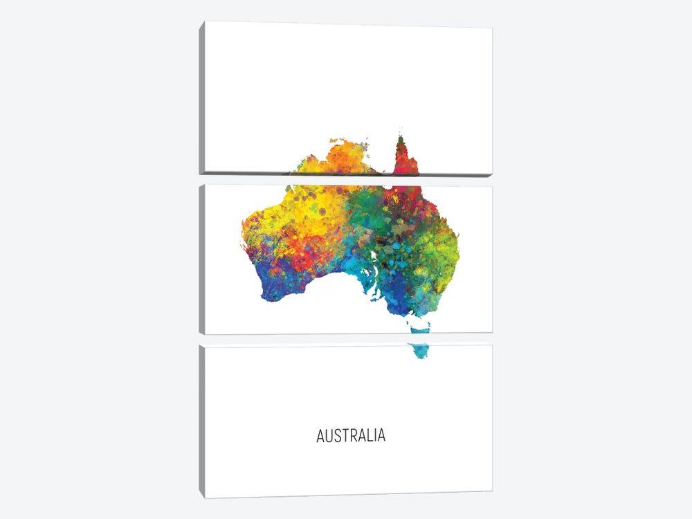 Australia Map by Michael Tompsett 3-piece Art Print