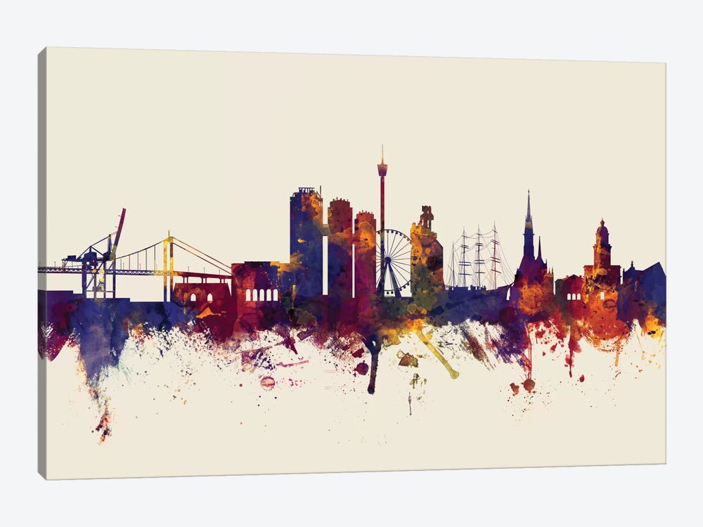 Skyline Series: Gothenburg, Sweden On Beige by Michael Tompsett 1-piece Art Print
