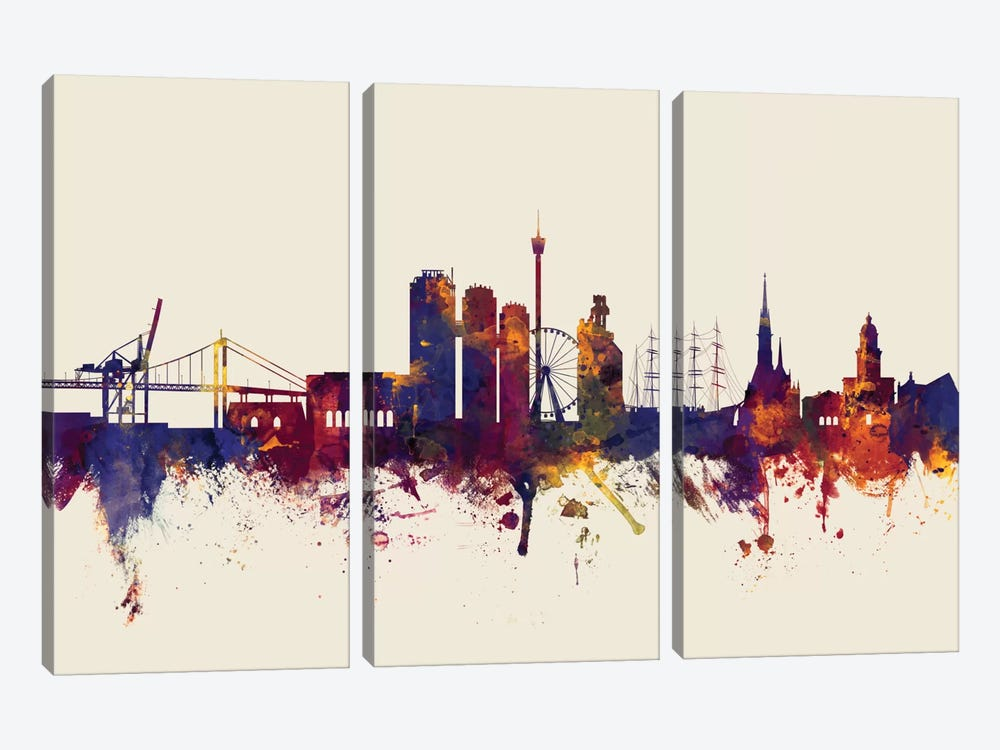 Skyline Series: Gothenburg, Sweden On Beige by Michael Tompsett 3-piece Art Print