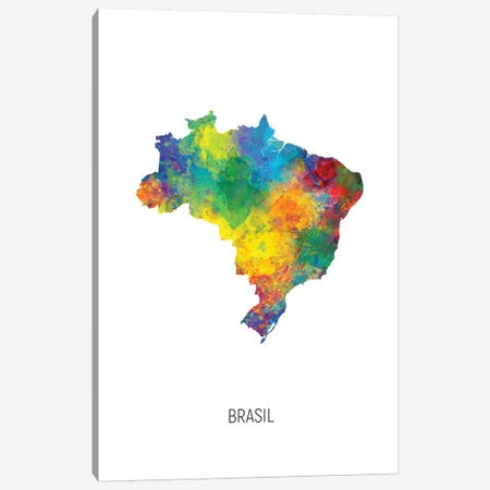 Brasil Map 3-Piece Canvas #MTO2754} by Michael Tompsett Canvas Art Print