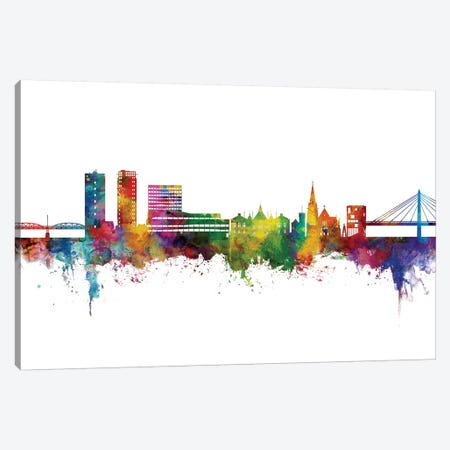 Umea Sweden Skyline Color Canvas Print #MTO2756} by Michael Tompsett Art Print