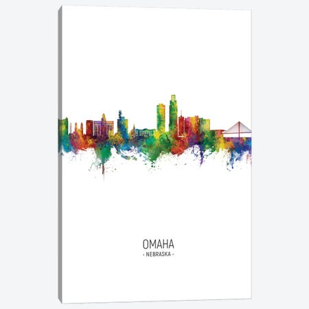 Omaha Nebraska Skyline Portrait Canvas Print #MTO2757} by Michael Tompsett Canvas Art Print