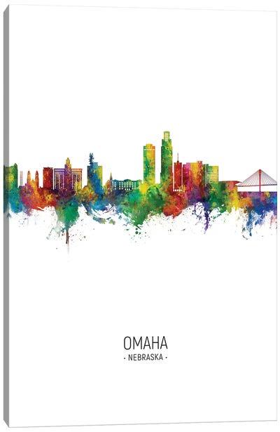 Omaha Nebraska Skyline Portrait Canvas Art Print