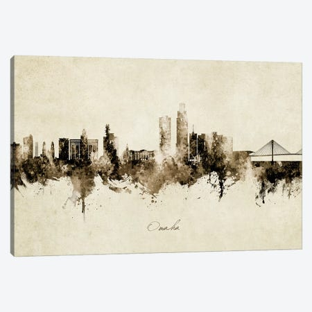 Omaha Nebraska Skyline Vintage Canvas Print #MTO2758} by Michael Tompsett Canvas Wall Art