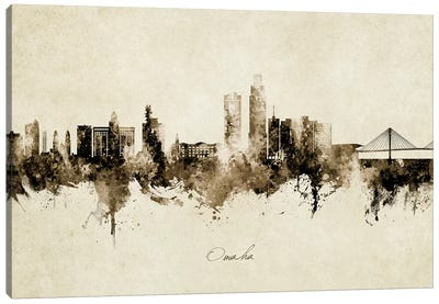 Omaha Nebraska Skyline Vintage Canvas Art Print