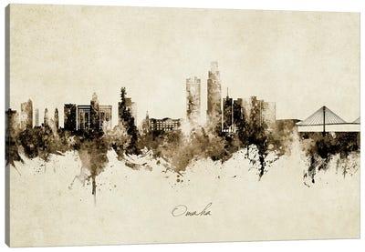 Omaha Nebraska Skyline Vintage Canvas Art Print