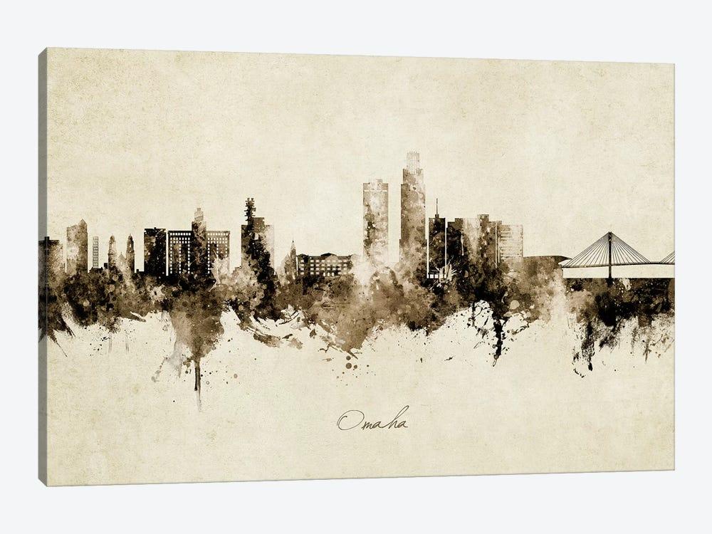 Omaha Nebraska Skyline Vintage by Michael Tompsett 1-piece Canvas Print