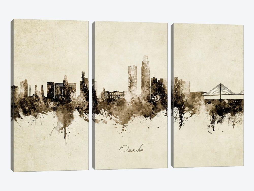 Omaha Nebraska Skyline Vintage by Michael Tompsett 3-piece Canvas Print