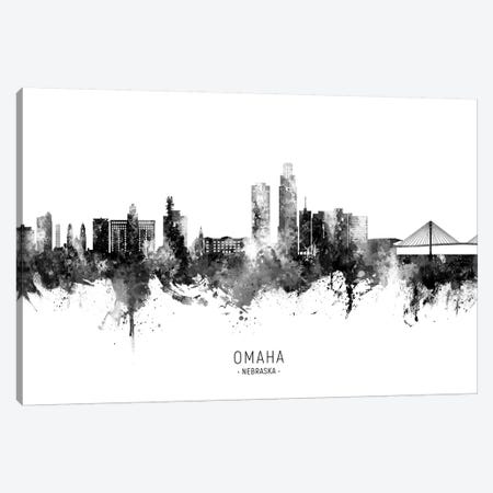 Omaha Nebraska Skyline Name Bw Canvas Print #MTO2759} by Michael Tompsett Canvas Artwork