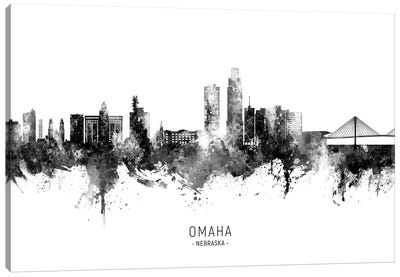 Omaha Nebraska Skyline Name Bw Canvas Art Print