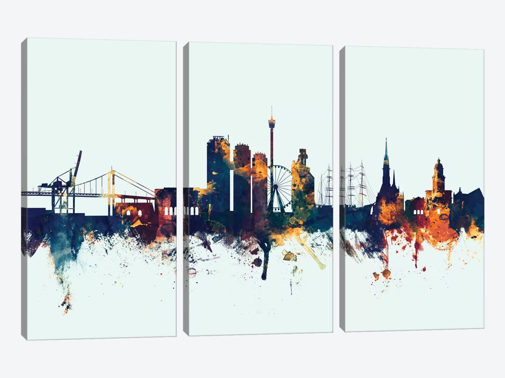 Gothenburg, Sweden On Blue by Michael Tompsett 3-piece Canvas Art
