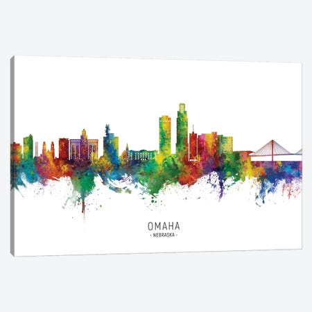 Omaha Nebraska Skyline City Name Canvas Print #MTO2760} by Michael Tompsett Canvas Print
