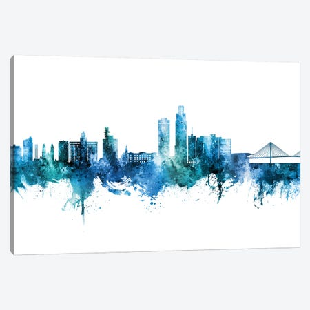 Omaha Nebraska Skyline Blue Teal Canvas Print #MTO2761} by Michael Tompsett Art Print