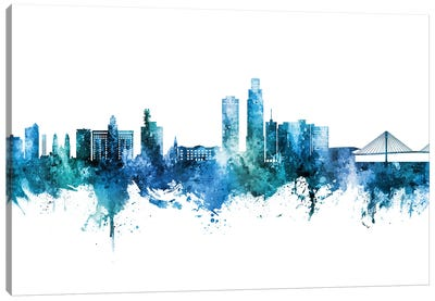 Omaha Nebraska Skyline Blue Teal Canvas Art Print