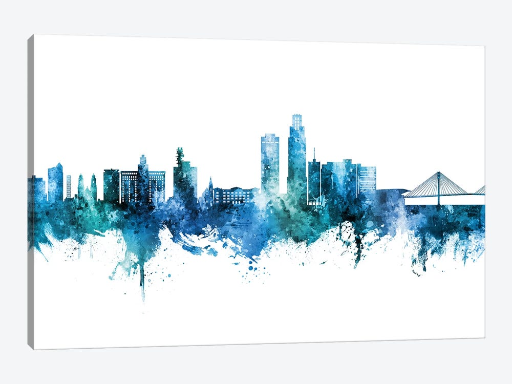 Omaha Nebraska Skyline Blue Teal by Michael Tompsett 1-piece Canvas Art Print