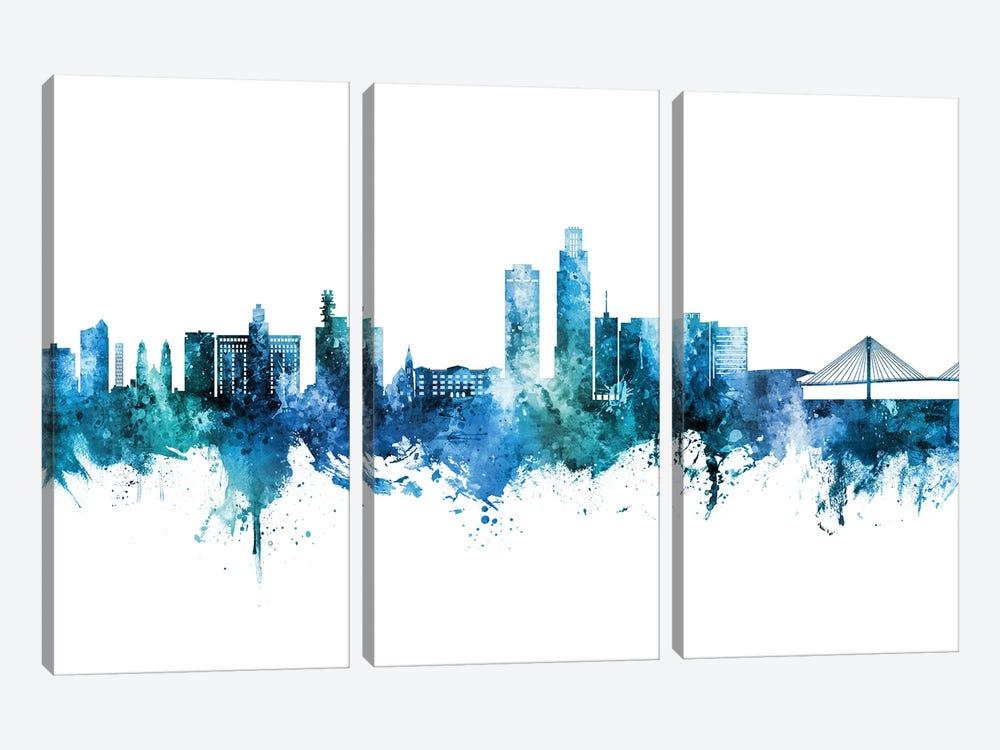 Omaha Nebraska Skyline Blue Teal by Michael Tompsett 3-piece Art Print