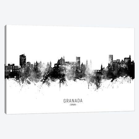 Granada Spain Skyline Name Bw Canvas Print #MTO2764} by Michael Tompsett Canvas Art