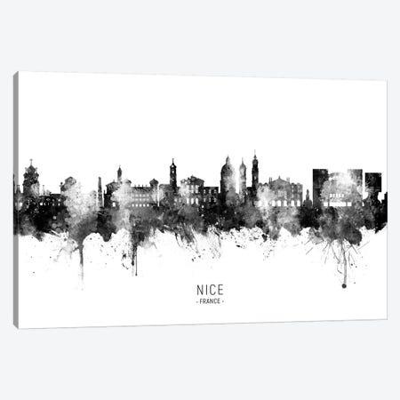 Nice France Skyline Name Bw Canvas Print #MTO2769} by Michael Tompsett Canvas Print