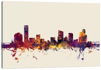 Skyline Series: Grand Rapids, Michigan, USA On Beige Canvas Print #MTO276