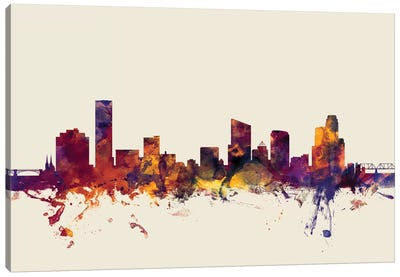 Grand Rapids, Michigan, USA On Beige Canvas Art Print