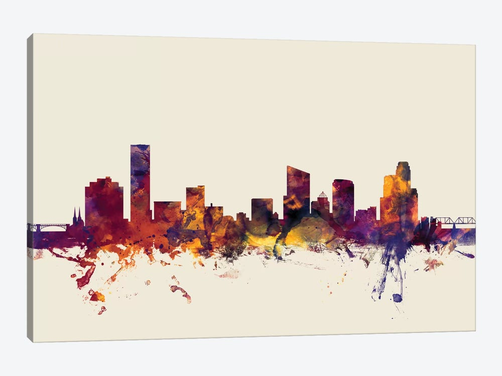 Skyline Series: Grand Rapids, Michigan, USA On Beige 1-piece Art Print