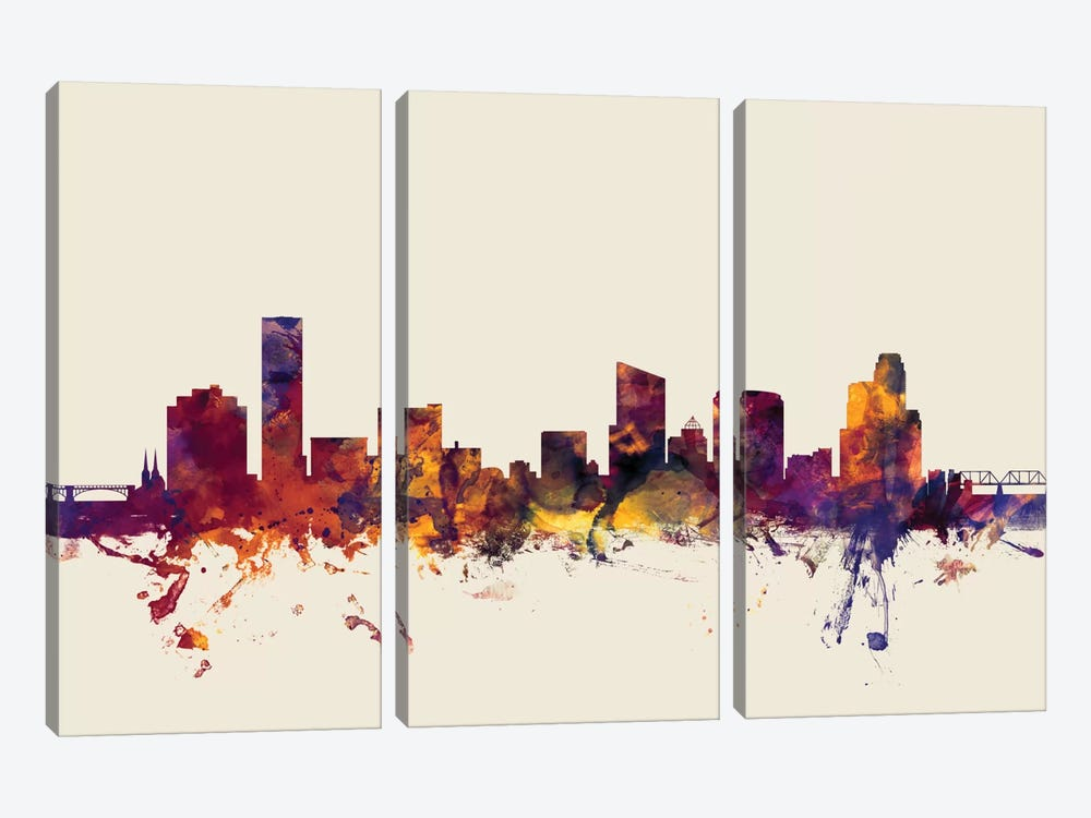 Skyline Series: Grand Rapids, Michigan, USA On Beige 3-piece Art Print