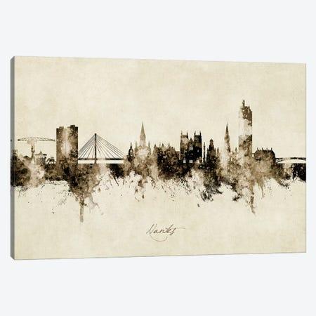 Nantes France Skyline Vintage Canvas Print #MTO2773} by Michael Tompsett Canvas Wall Art
