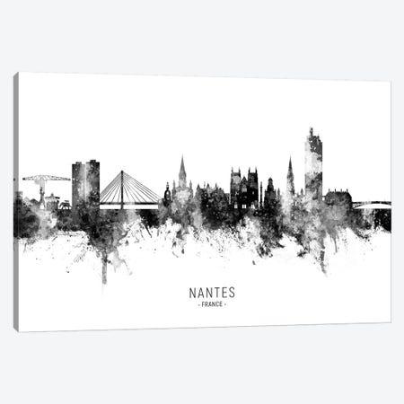 Nantes France Skyline Name Bw Canvas Print #MTO2774} by Michael Tompsett Canvas Print