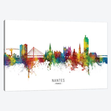 Nantes France Skyline City Name Canvas Print #MTO2775} by Michael Tompsett Canvas Print