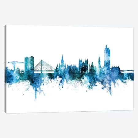 Nantes France Skyline Blue Teal Canvas Print #MTO2776} by Michael Tompsett Canvas Art Print