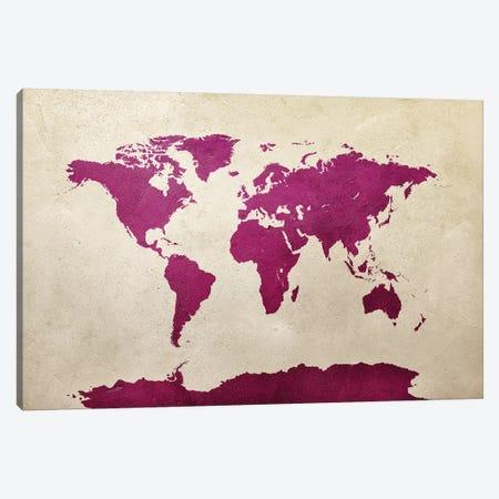 World Map Hot Pink Canvas Print #MTO2778} by Michael Tompsett Canvas Wall Art