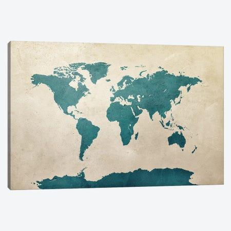 World Map Teal Canvas Print #MTO2779} by Michael Tompsett Canvas Artwork
