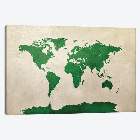 World Map Green Canvas Print #MTO2780} by Michael Tompsett Canvas Art Print