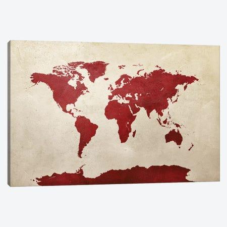 World Map Red Canvas Print #MTO2782} by Michael Tompsett Art Print