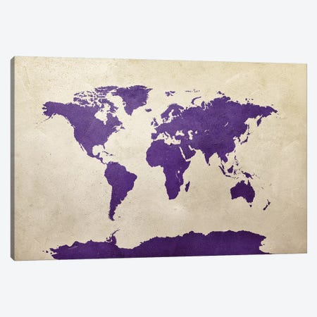 World Map Purple Canvas Print #MTO2783} by Michael Tompsett Art Print