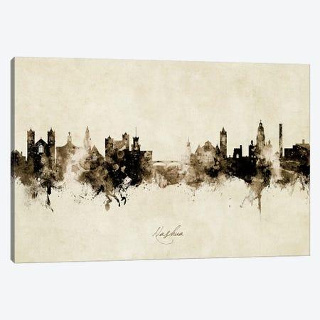 Nashua New Hampshire Skyline Vintage Canvas Print #MTO2785} by Michael Tompsett Canvas Wall Art