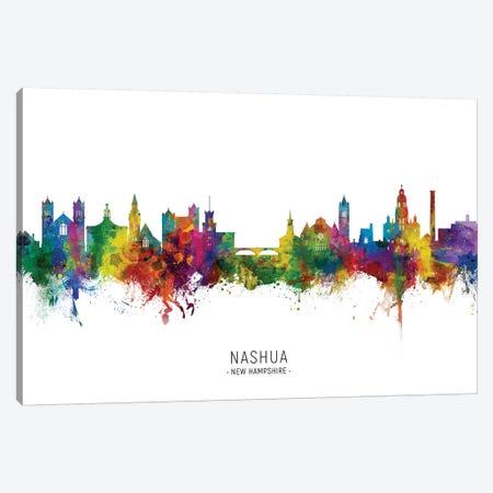 Nashua New Hampshire Skyline City Name Canvas Print #MTO2787} by Michael Tompsett Canvas Art