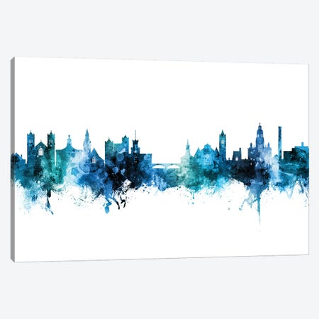 Nashua New Hampshire Skyline Blue Teal Canvas Print #MTO2788} by Michael Tompsett Canvas Print