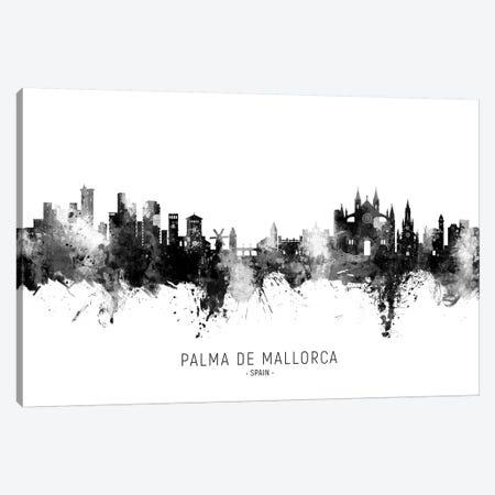 Palma De Mallorca Spain Skyline Name Bw Canvas Print #MTO2791} by Michael Tompsett Canvas Art