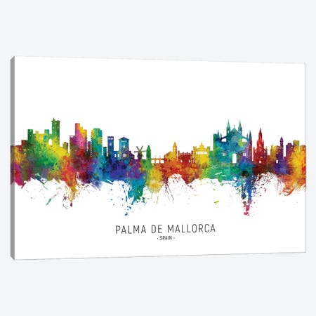 Palma De Mallorca Skyline City Name Canvas Print #MTO2792} by Michael Tompsett Canvas Wall Art