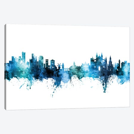 Palma De Mallorca Skyline Blue Teal Canvas Print #MTO2793} by Michael Tompsett Canvas Art